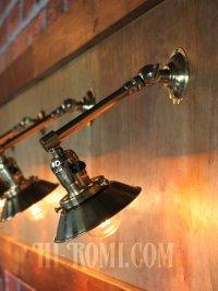 全真鍮製ミニシェード&角度調整付き工業系ブラケットライトF/壁掛け照明ランプ
