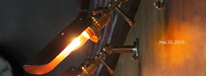 LEADER社製パドルスイッチ式ソケット&筒型シェード付真鍮製角度調整ブラケット