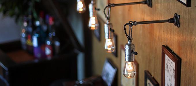 チェーンリング付LEVITON社製ターン式ソケット工業系ウォールランプ兼用ペンダントライトA/アンティーク照明ブラケット