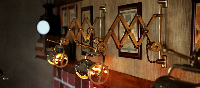 筒型シェード&角度調整付き真鍮製ダブルシザーアームライト1/二重蛇腹式ウォールランプ