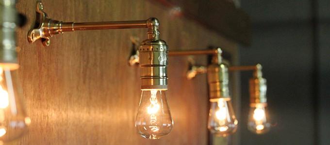 USAヴィンテージLEVITON社製ターン式ソケット付工業系真鍮ミニブラケットランプ