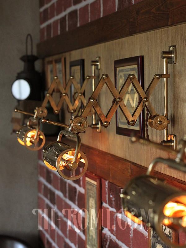 真鍮製 蛇腹 完全 ハンドメイド シザーアーム ウォールランプ ブラケット ライト 工業系 インダストリアル