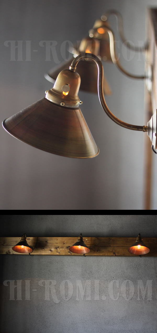 USAヴィンテージ工業系真鍮シェード&ベル型カップ壁掛ライトC/アンティーク照明 アンティーク照明&雑貨 Hi-Romi.com 神戸