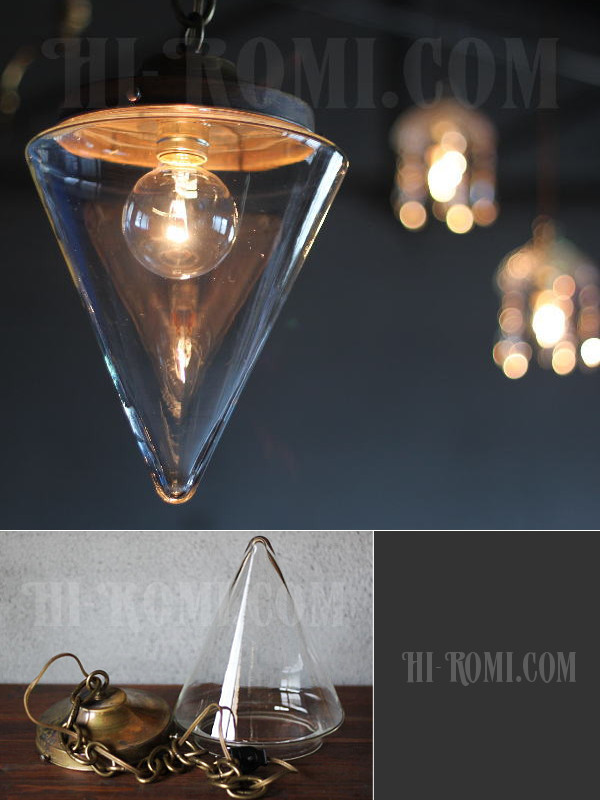USAガラスシェード真鍮スワッグ1灯ランプ/ヴィンテージ吊下げライト アンティーク照明&雑貨 Hi-Romi.com 神戸