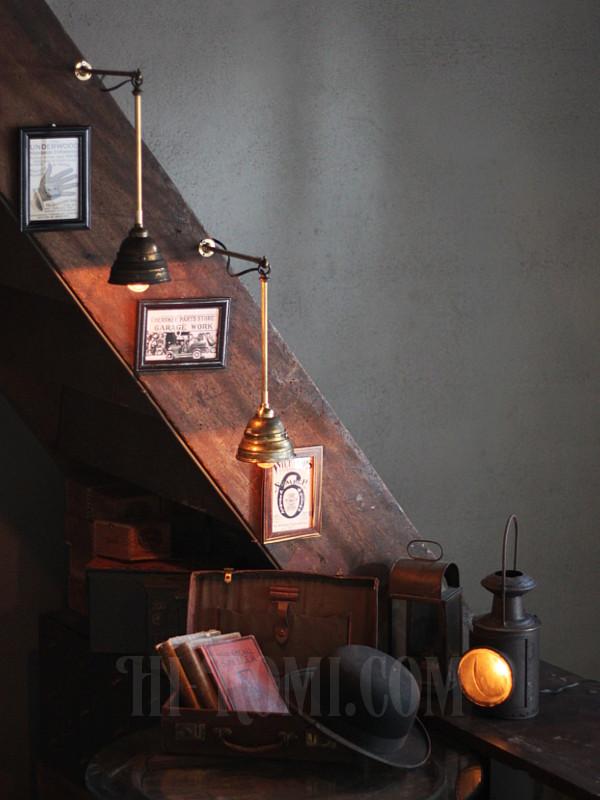 USA工業系真鍮吊下げ&壁掛ライトシェード付A/アンティーク照明 ウォールランプ ペンダントライト アンティーク照明&雑貨 Hi-Romi.com 神戸