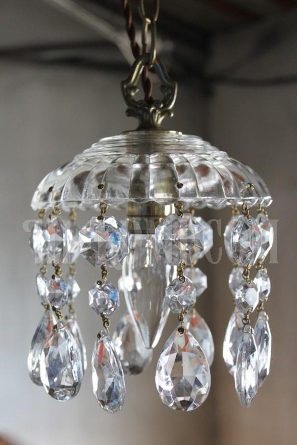 ヴィンテージガラスシェード1灯プリズムミニシャンデリア/アンティークペンダントランプ照明