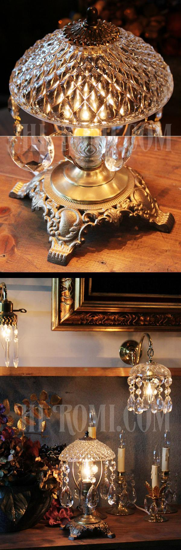 ヴィンテージヴィクトリアンガラスシェードプリズム付きテーブルランプ/アンティーク卓上シャンデリア照明