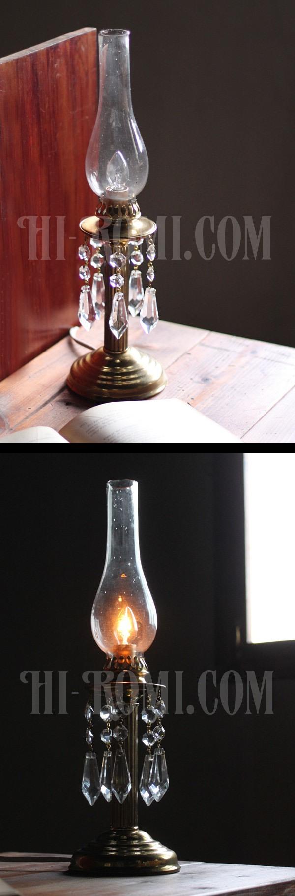 ヴィンテージガラス製チムニー&プリズム付テーブルランプ/アンティーク真鍮照明
