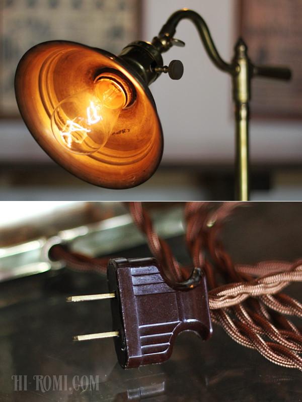 USAヴィンテージスウィングハンドル角型台座角度調整付ファーマシー真鍮製テーブルライト/工業系アトリエ照明