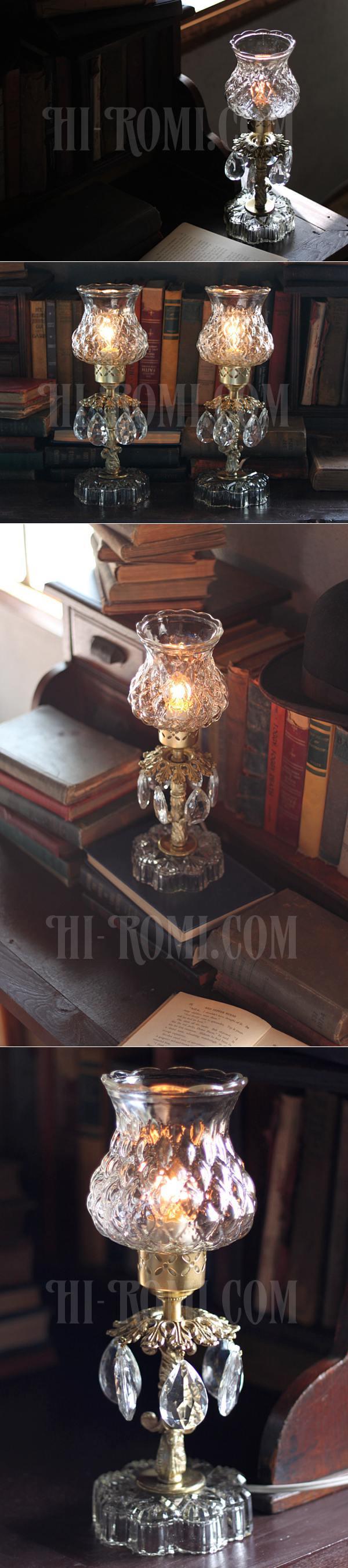 ヴィンテージプリズム付きアーガイルガラスシェードテーブルランプA/アンティークホブネイル卓上シャンデリア照明
