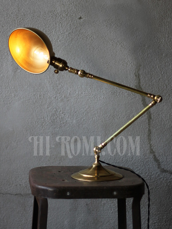 USAヴィンテージ工業系真鍮シェード角度調整付デスクランプ/アンティーク照明 アンティーク照明&雑貨 Hi-Romi.com 神戸