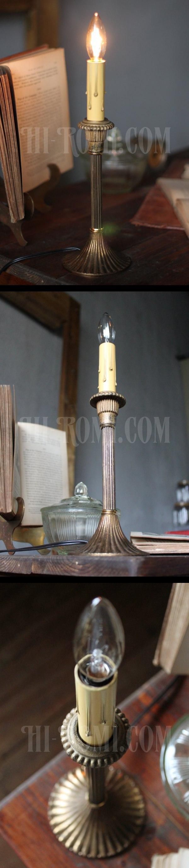 ヴィンテージ真鍮製1灯キャンドルテーブルランプ/アンティークシャンデリア照明