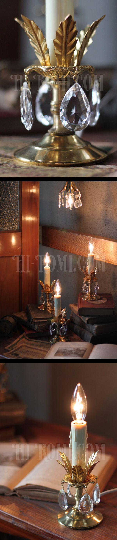 ヴィンテージプリズム付花形カップ1灯キャンドルミニテーブルランプ/アンティークシャンデリア照明