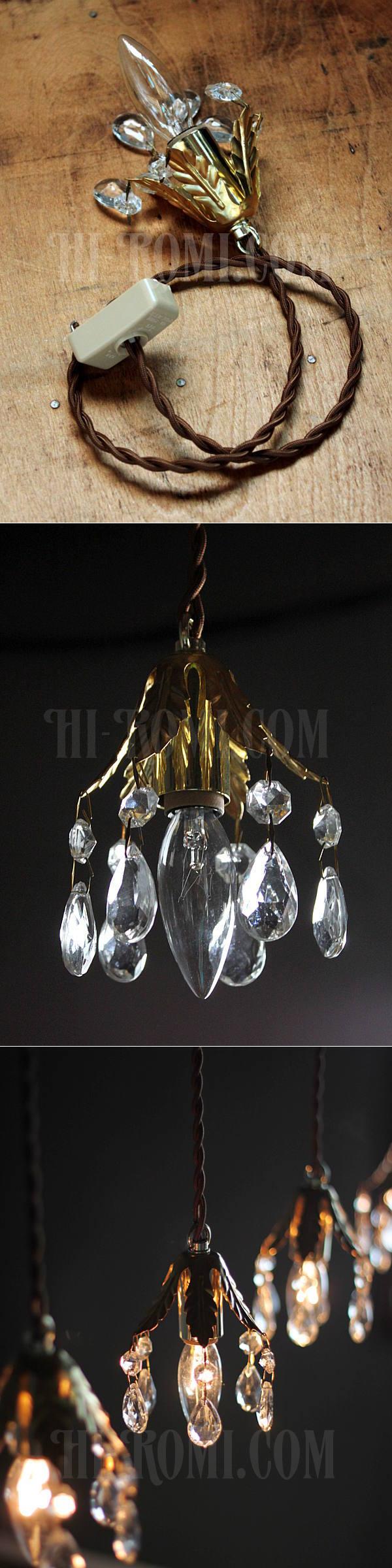 ヴィンテージフラワーカップミニプリズムペンダントランプA/アンティークシャンデリア照明ライト