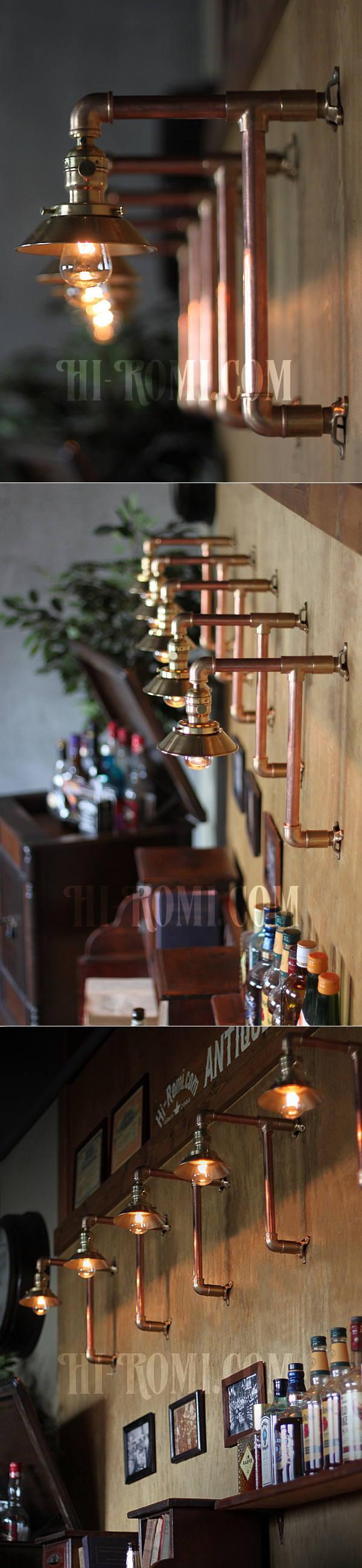 USAヴィンテージYOST社ファットボーイソケット付き2点固定式真鍮&銅製工業系ブラケット/インダストリアルスチームパンク壁掛照明ウォールランプ