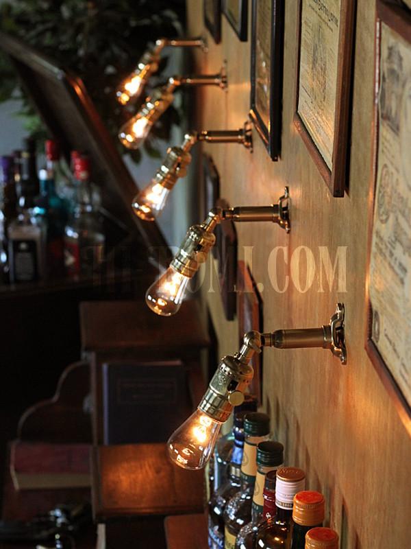 LEVITON社製真鍮ソケット&角度調整付きバレット型ミニブラケットB/アメリカンインダストリアル壁掛照明ウォールランプ
