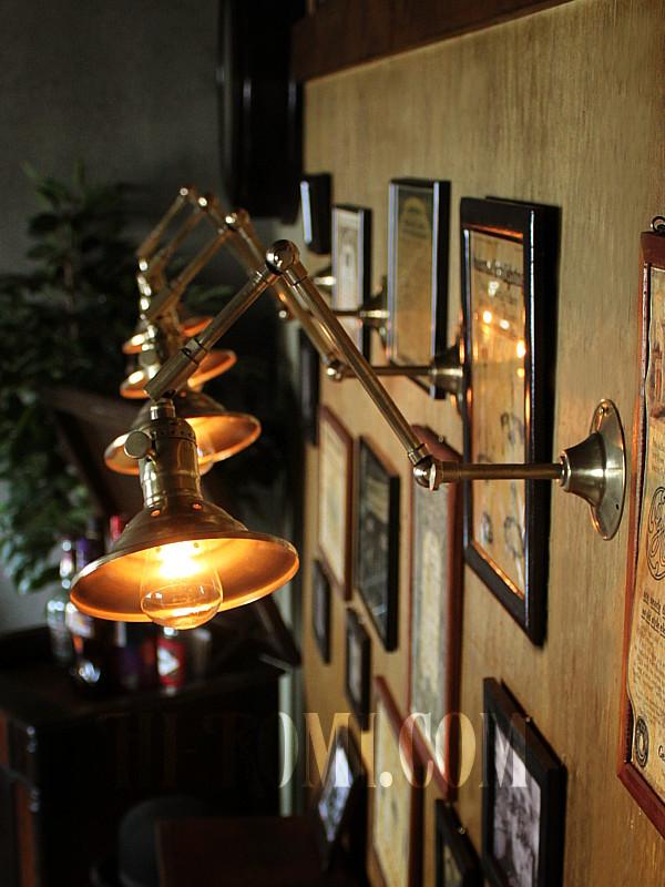 【数量限定】筒型シェード&角度調整付き真鍮製ダブルシザーアームライト2/二重蛇腹式ウォールランプ