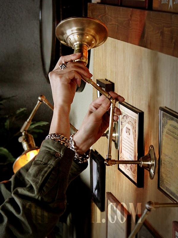 【数量限定】筒型シェード&角度調整付き真鍮製ダブルシザーアームライト5/二重蛇腹式ウォールランプ