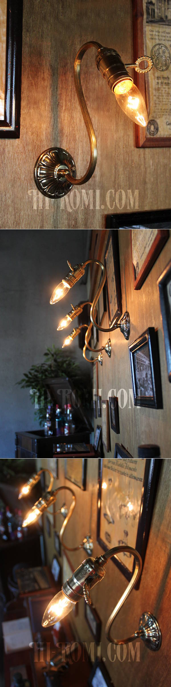 LEVITON社製真鍮ソケット付コロニアルスワンネックブラケットランプA/アメリカンヴィクトリアンランプ壁掛照明ウォールライト