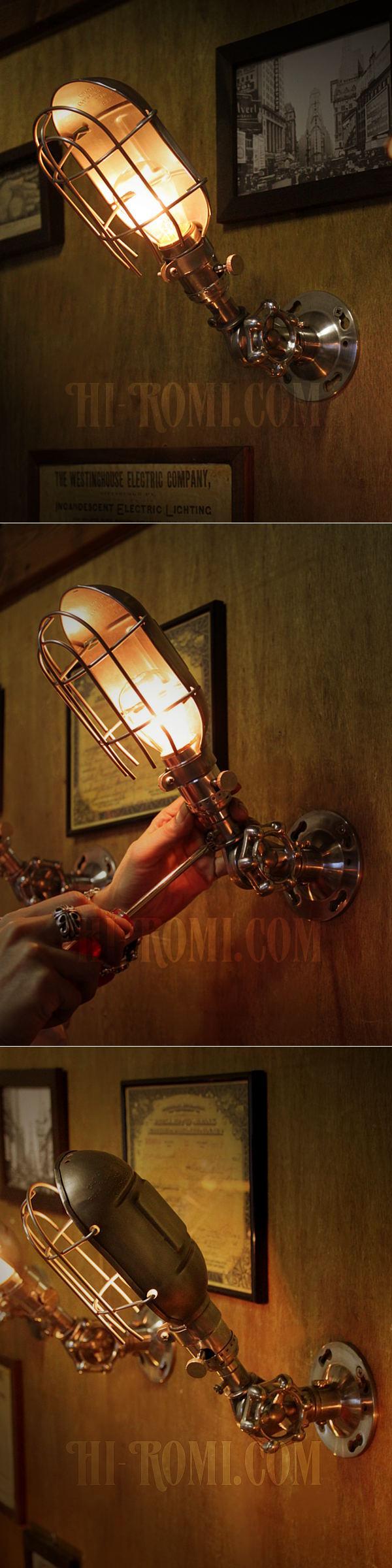 USAヴィンテージバルブ角度調整&ワイヤーケージ付LEVITON社アルミ製ソケットブラケット/アンティーク工業系作業灯トラブルライト照明壁掛ランプ