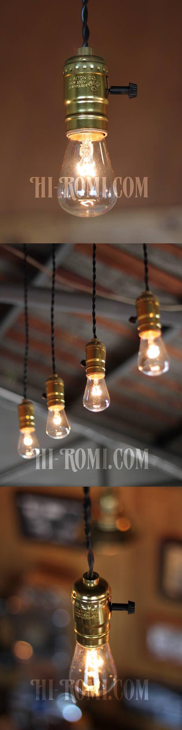 LEVITON社製ターン式アルミ製Goldソケットペンダントライト/工業系ランプ照明