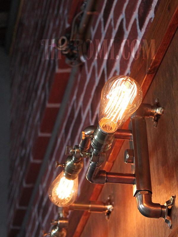 アメリカンヴィンテージH&Hファットボーイソケット&角度調整付ブラケットA/工業系スチームパンク壁面照明ウォールランプインダストリアルライト