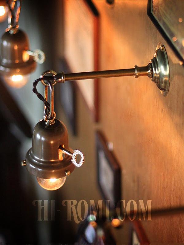 工業系鍵&チェーン付ベル型シェードホルダー真鍮ブラケットA/ヴィクトリアンウォールランプ/壁掛け照明/インダストリアル