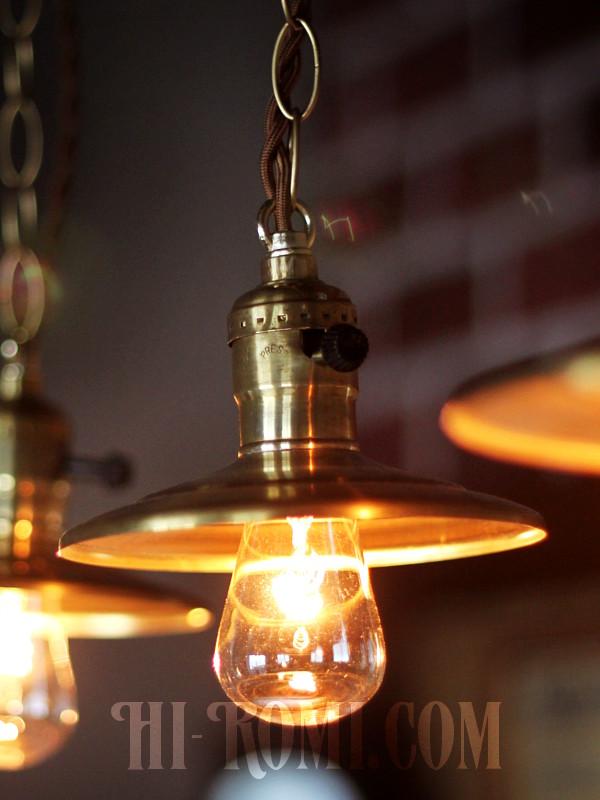 ミニシェード&チェーン付真鍮ペンダントライトA/工業系インダストリアル吊下照明