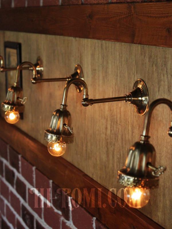 真鍮レース付きベル型カップの真鍮ブラケットランプ/角度調整付き壁掛け照明