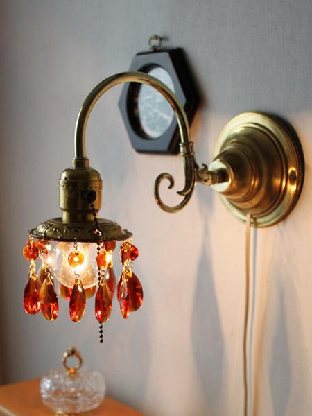 ヴィンテージ真鍮フレームプリズムウォールランプ(アンバー)