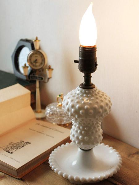 USAヴィンテージミルクガラスホブネイルテーブルランプ