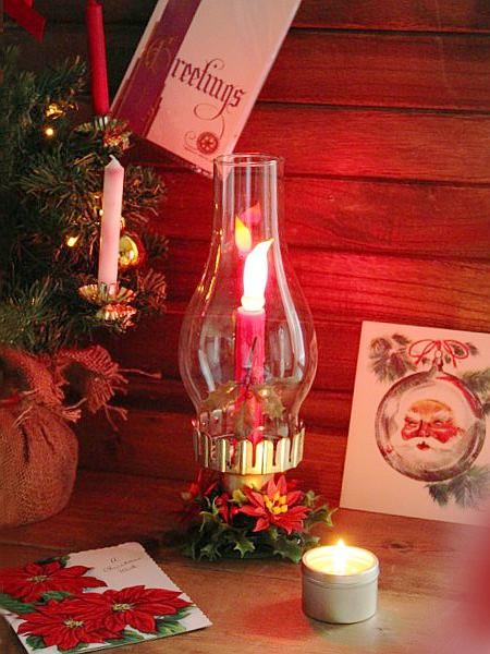 アメリカ ヴィンテージクリスマスハリケーンキャンドルランプA/アンティークチムニー照明ライト