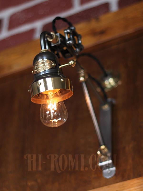 ベル型カップ&バルブ角度調整付トラスアーム工業系ブラケットランプ1/Hi-Romi.comオリジナル照明/インダストリアル壁面ライト/スチームパンク