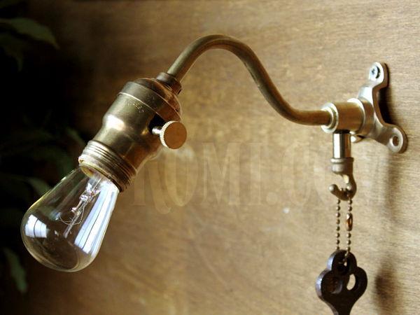 ヴィンテージ工業系フック&ファットボーイソケット付ターン式ソケット真鍮ブラケット/アンティーク照明インダストリアルウォールランプ