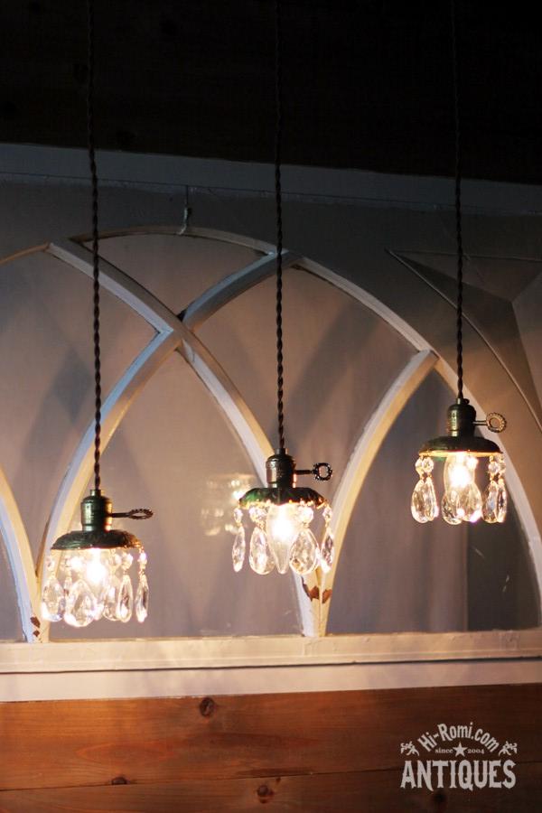 真鍮製フレームダブルカットティアドロッププリズム1灯ミニシャンデリア/アンティーク照明ペンダントランプ