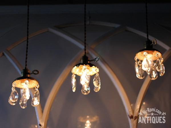 真鍮製フレームティアドロッププリズム1灯ミニシャンデリアA/アンティーク照明ペンダントランプ