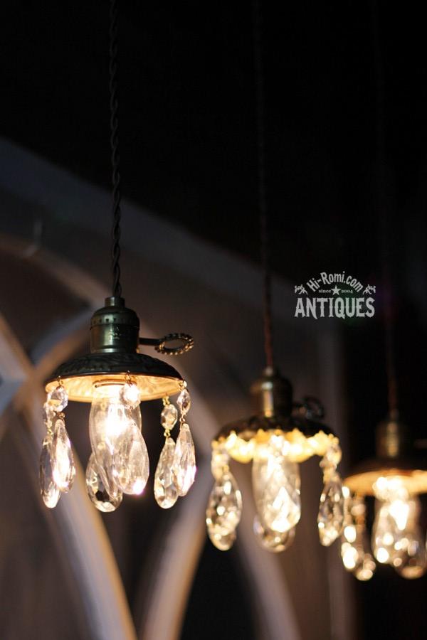 真鍮製フレームティアドロッププリズム1灯ミニシャンデリアB/アンティーク照明ペンダントランプ