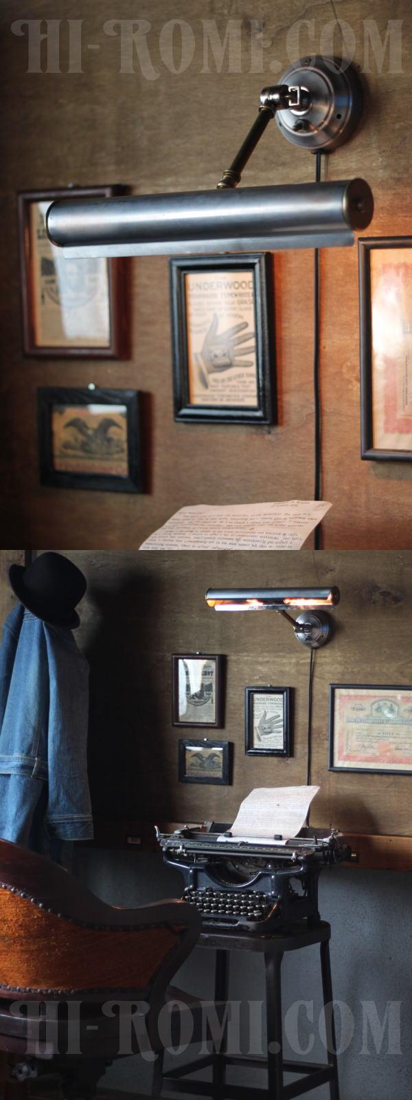 ヴィンテージ工業系2灯角度調整付ウォールブラケット・壁掛ピクチャーライト/アンティーク照明