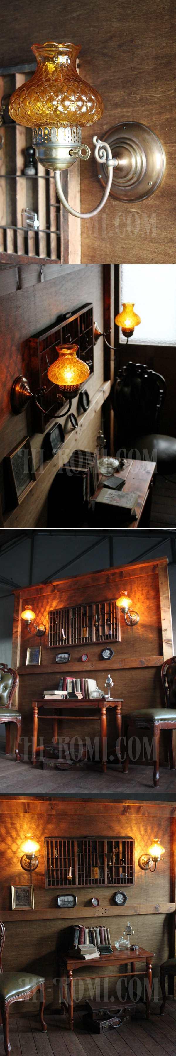 ヴィンテージアーガイルアンバーガラスシェード鍵付きブラケットランプA/アンティークホブネイルコロニアル照明
