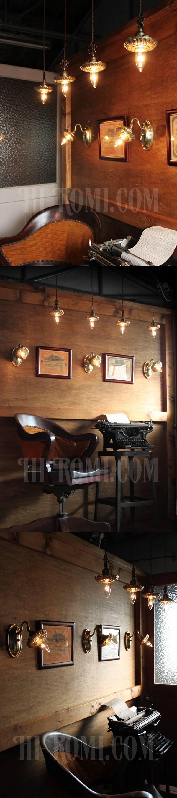 USAヴィンテージ真鍮製花型フレーム付きプッシュ式ブラケットランプ/アンティークヴィクトリアンアトリエ壁掛けウォールライト