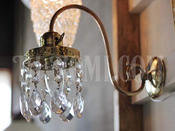 ヴィンテージ鍵付き真鍮シェード1灯プリズムブラケット/アンティークウォールランプ照明