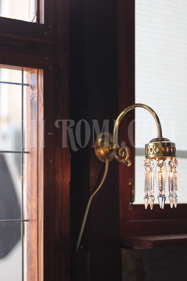 ヴィンテージ真鍮カップシェード1灯アロープリズムブラケットA/アンティークウォールランプ照明