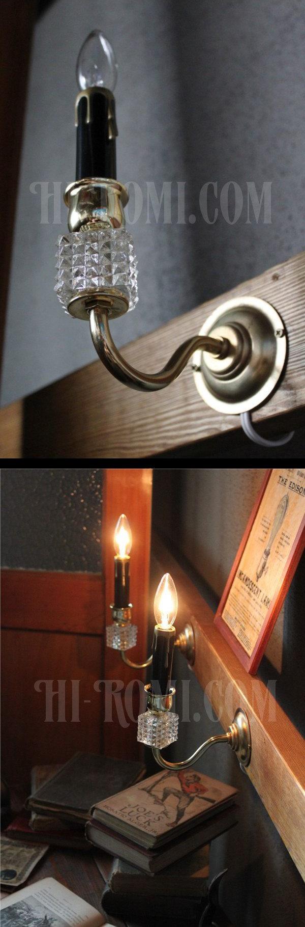 ヴィンテージガラス飾りミニウォールブラケットランプB/アンティークシャンデリア照明