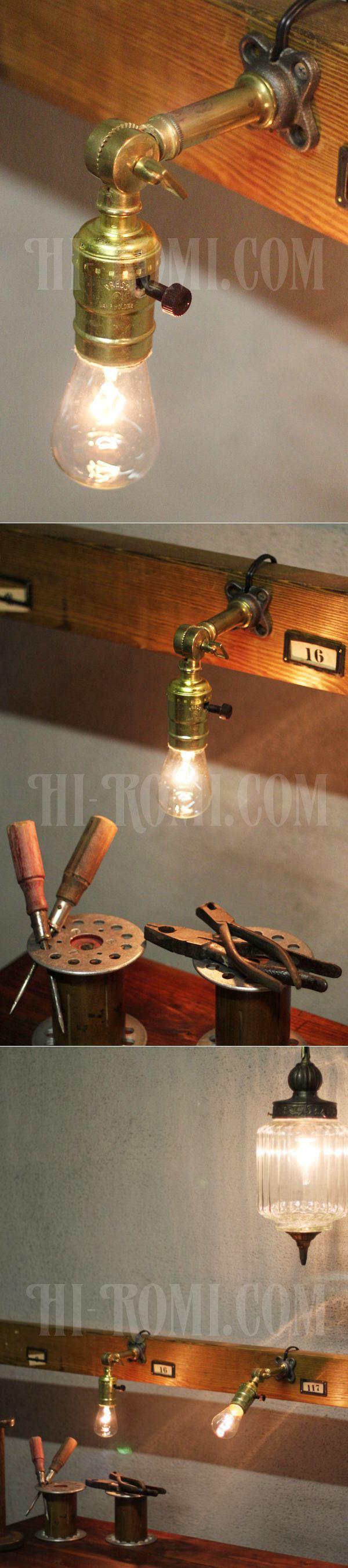 USAヴィンテージ工業系アルミ製Fソケット角度調整付ブラケットランプ/アンティーク壁掛け照明ライト