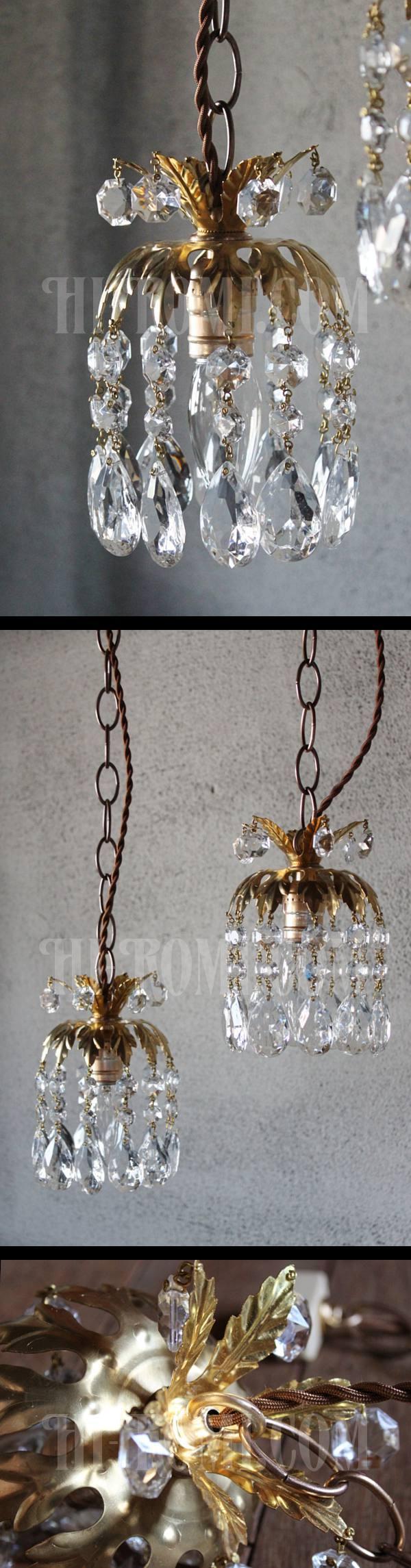 ヴィンテージ真鍮製フラワー飾りのプリズム1灯ペンダントランプ/アンティークシャンデリア照明