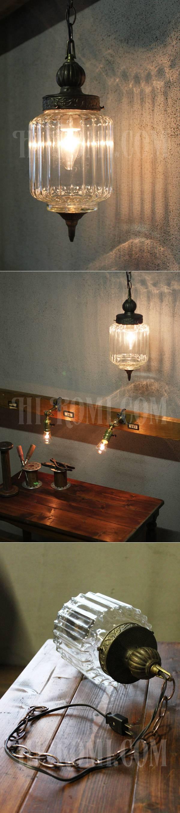 USAクリアガラススワッグランプ/ヴィンテージペンダント吊下げライト