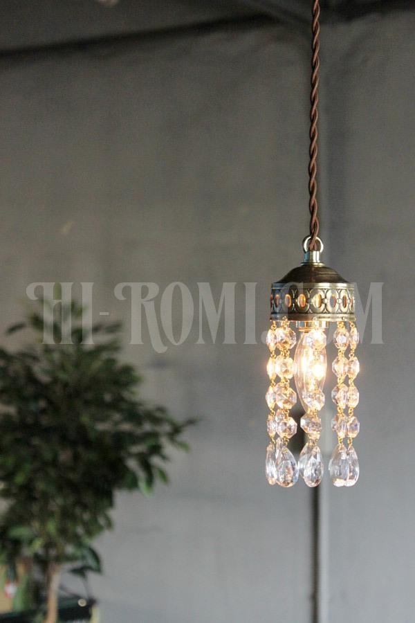 真鍮カップオクタゴンプリズム1灯ミニペンダントランプ/アンティーク吊下照明