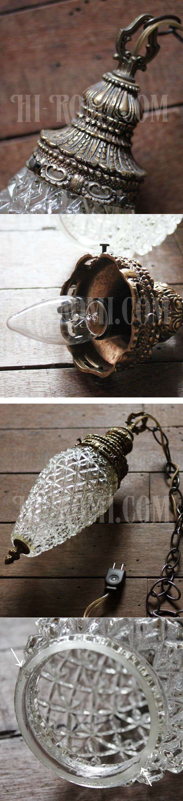 USAヴィンテージクリアプレスガラススワッグペンダントランプ/アンティークハンギング吊下げライト/ダイヤ型