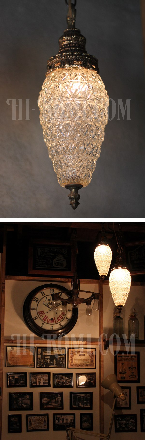 USAヴィンテージクリアプレスガラススワッグペンダントランプD/アンティークハンギング吊下げライト/ダイヤ型