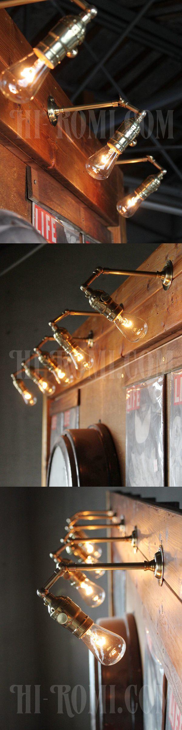 ヴィンテージ工業系ADL角度調整付き真鍮ブラケット/アンティーク照明インダストリアルウォールランプ